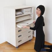 着物のスマート収納家具/桐製オープンシェルフW75cm